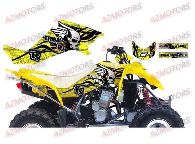 KIT DECO BLACKBIRD TRIBAL SKULL II JAUNE POUR QUAD LTZ400 `03-10