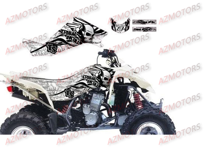KIT DECO BLACKBIRD TRIBAL SKULL II BLANC POUR QUAD LTZ400 `03-10