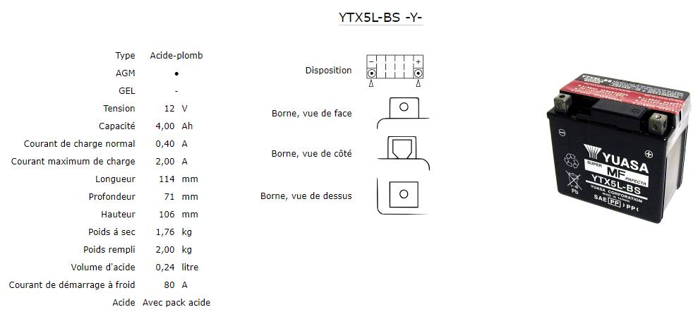 Batterie Yuasa Ytx5l Bs Agm Ouvert Avec Pack Acide