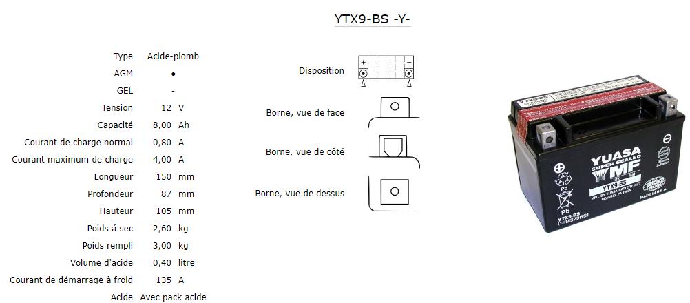 Batterie Yuasa Ytx9 Bs Agm Ouvert Avec Pack Acide