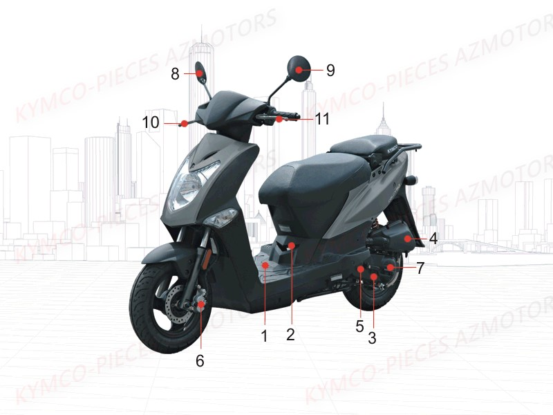 kymco pieces kymco boutique en ligne quads motos scooters pieces kymco scooter 50 4t agility. Black Bedroom Furniture Sets. Home Design Ideas