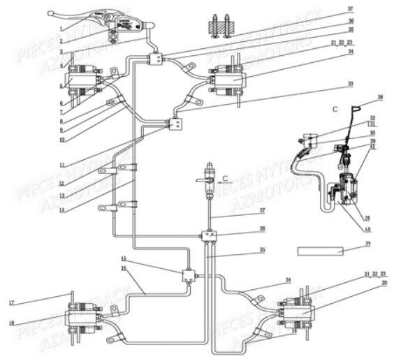 systeme de freinage pi ces quad hy710s 4x4 pi ces d tach es neuves d 39 origine constructeur au. Black Bedroom Furniture Sets. Home Design Ideas