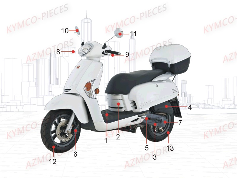 kymco pieces kymco boutique en ligne quads motos scooters pieces kymco scooter 50 2t like 50. Black Bedroom Furniture Sets. Home Design Ideas