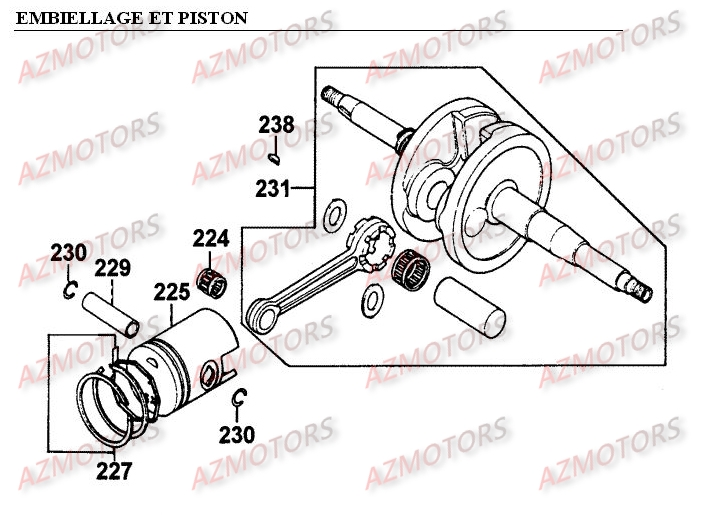 EMBIELLAGE - PISTON pour PEOPLE-50-2T