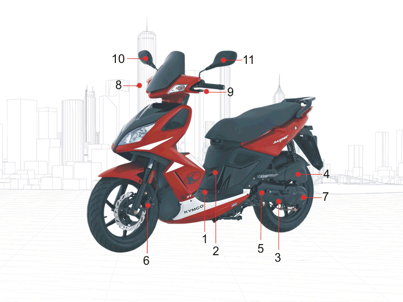 kymco pieces kymco boutique en ligne quads motos scooters pieces kymco scooter 50 2t super8. Black Bedroom Furniture Sets. Home Design Ideas